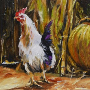 rooster on the farm, oilpainting