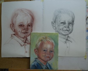 jelmer studies in pastel en potlood en olieverf