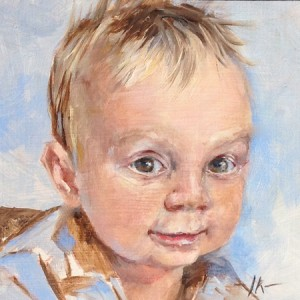 "Olieverf portret in opdracht ""Tim"", maat 14 x 14 cm"
