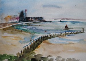 Vlissingen Windorgel plein air aquarel