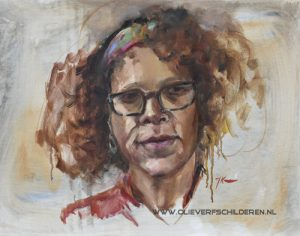 "Olieverf  schets via life uitzending Skyarts tv portrait of the Week ""portret Bernadine Evaristo"", maat 38x48cm canvas op board"