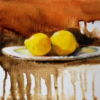 citroenen op een bord, olieverf op linnen board