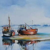 Aquarel low-tide van Joke Klootwijk, maat 38 x 45 cm