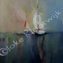 witte-zeilboot in Aquarel (niet te koop)